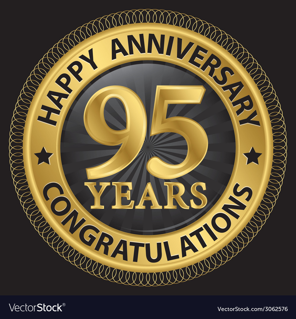 95 years happy anniversary congratulations gold vector | Price: 1 Credit (USD $1)