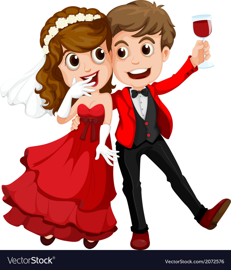 A couple who just got married vector | Price: 1 Credit (USD $1)