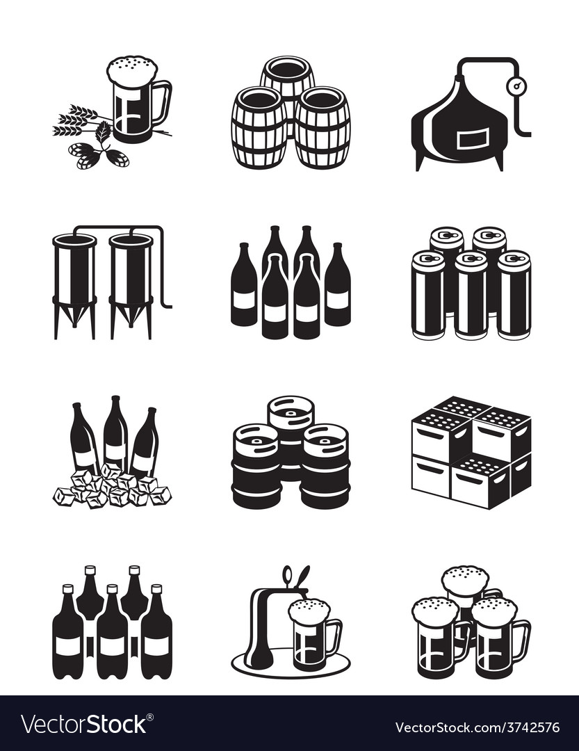 Beer and brewery icon set vector | Price: 1 Credit (USD $1)