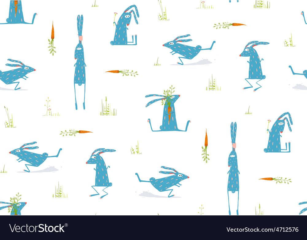 Brightly colored fun cartoon rabbits animals vector | Price: 1 Credit (USD $1)