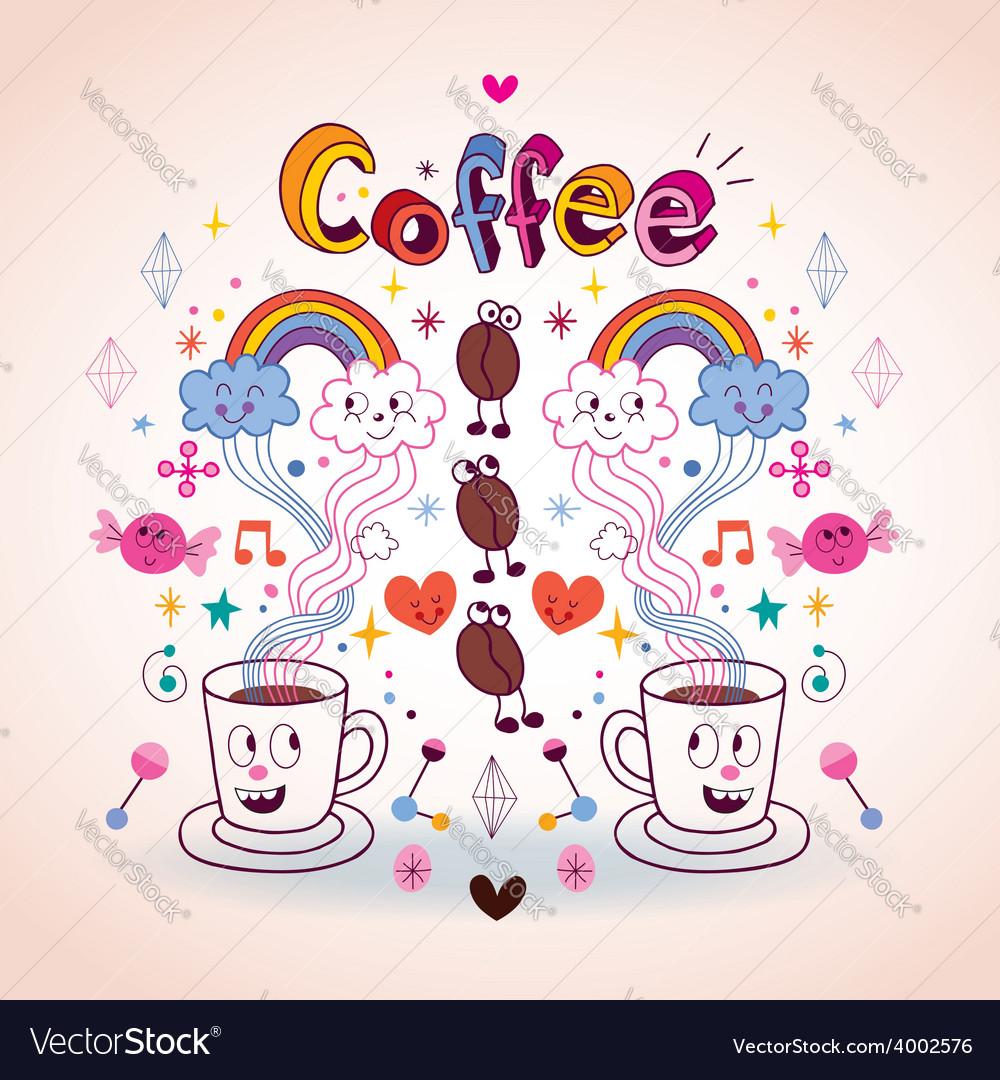 Coffee fun cartoon vector | Price: 1 Credit (USD $1)