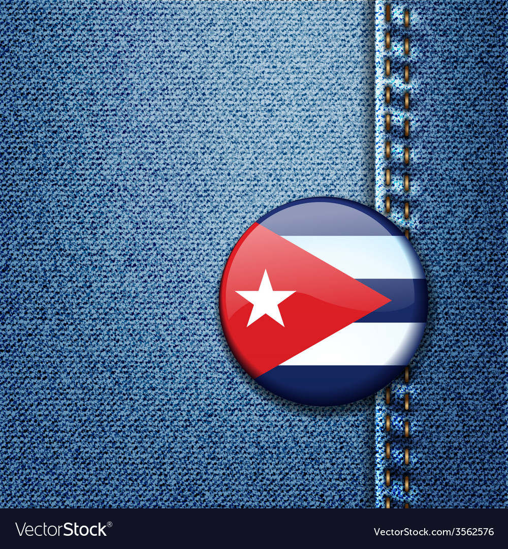 Cuba flag badge on jeans denim texture vector | Price: 1 Credit (USD $1)
