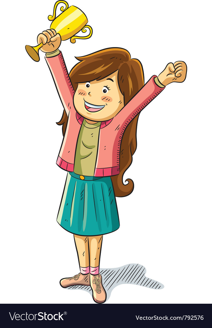 Girl win a trophy vector | Price: 3 Credit (USD $3)