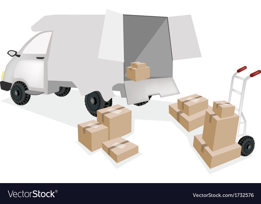 Hand truck loading corrugated cardboard into a van vector | Price: 1 Credit (USD $1)