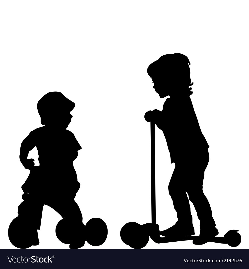 Kids with scooter and tricycle vector | Price: 1 Credit (USD $1)