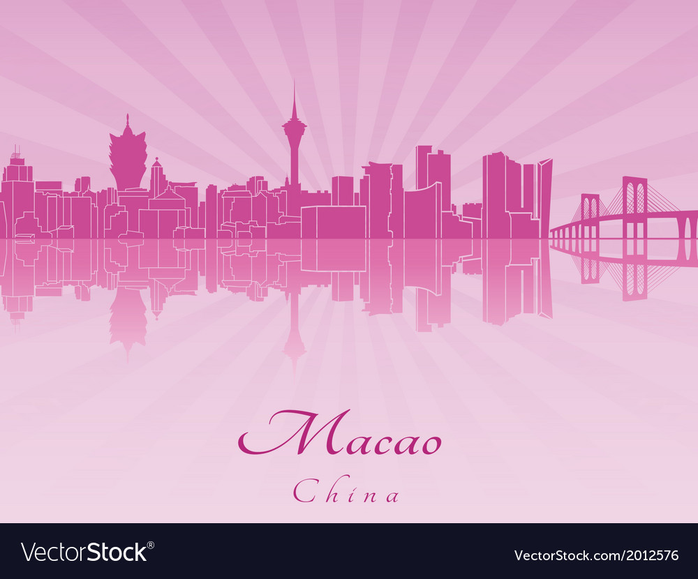 Macao skyline in purple radiant orchid vector   Price: 1 Credit (USD $1)