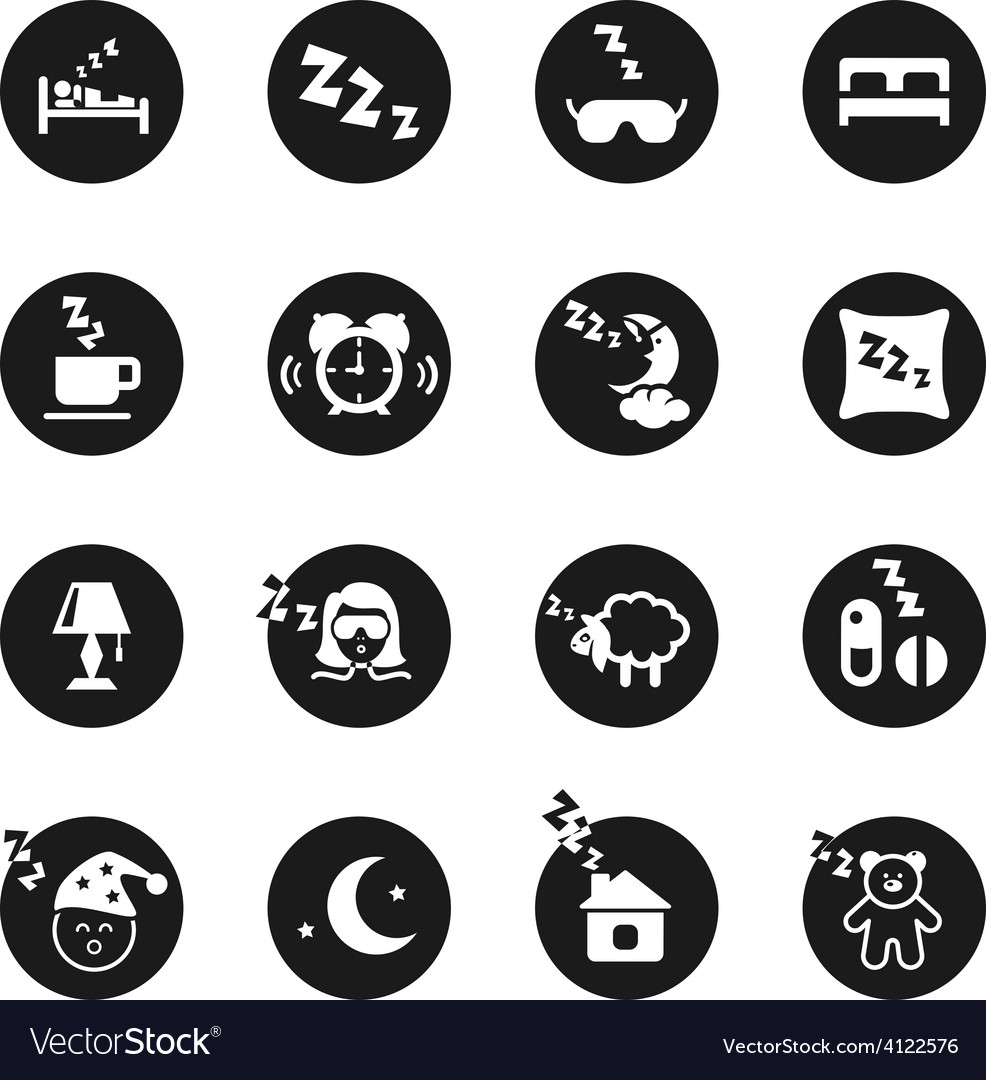 Set of round icons about sweet dreams and bed time vector   Price: 1 Credit (USD $1)