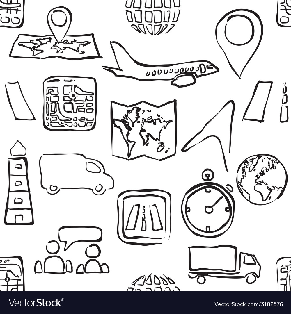Sketch logistic seamless pattern vector   Price: 1 Credit (USD $1)