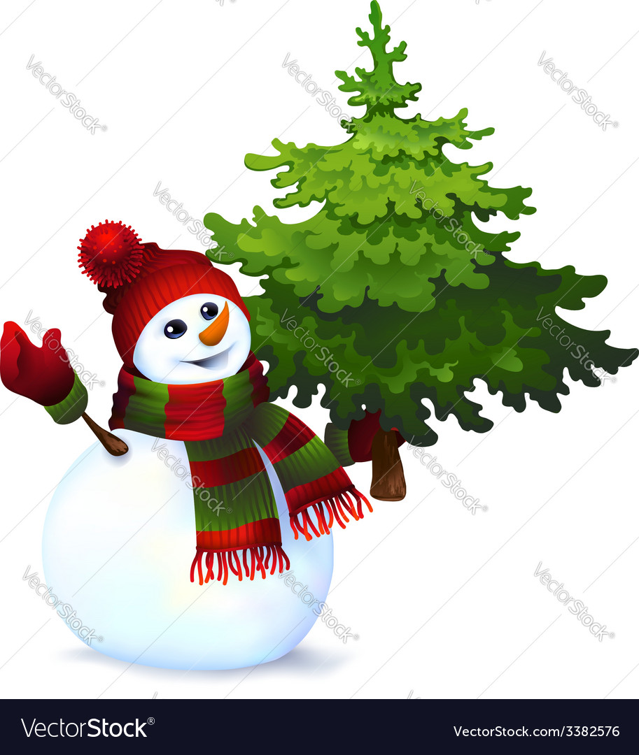 Snowman with pine tree drawing vector | Price: 1 Credit (USD $1)