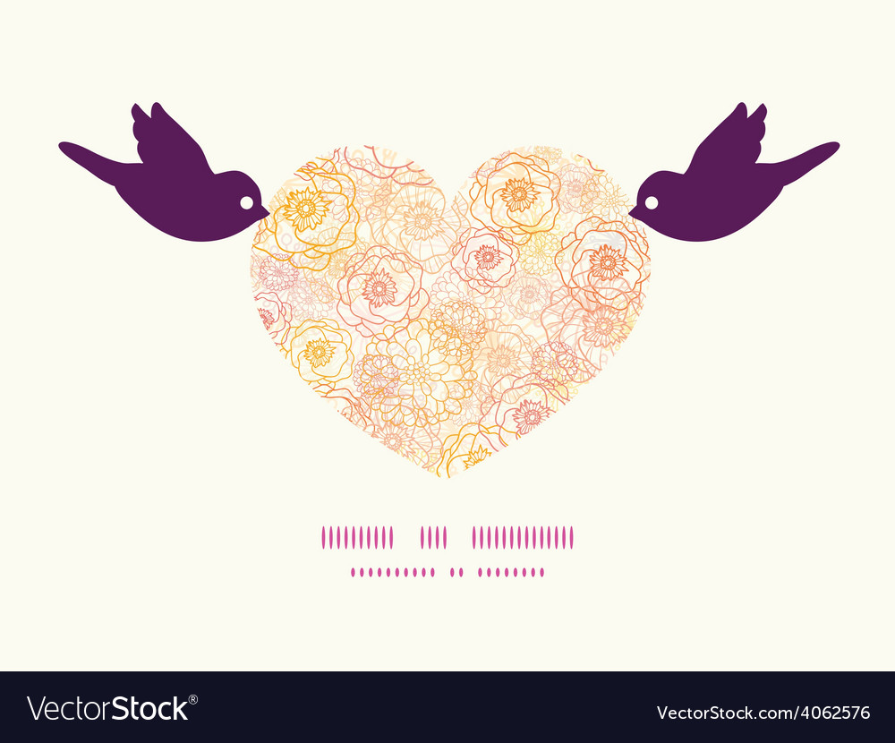 Warm flowers birds holding heart silhouette vector | Price: 1 Credit (USD $1)