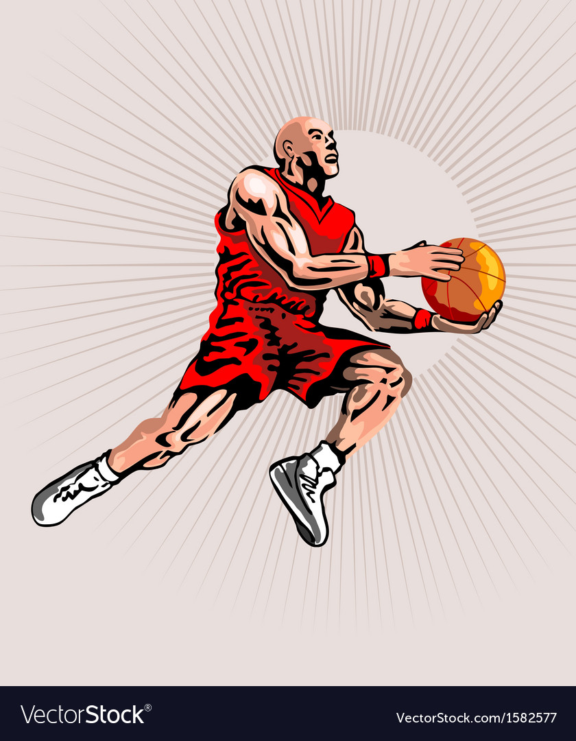 Basketball player jumping vector | Price: 1 Credit (USD $1)