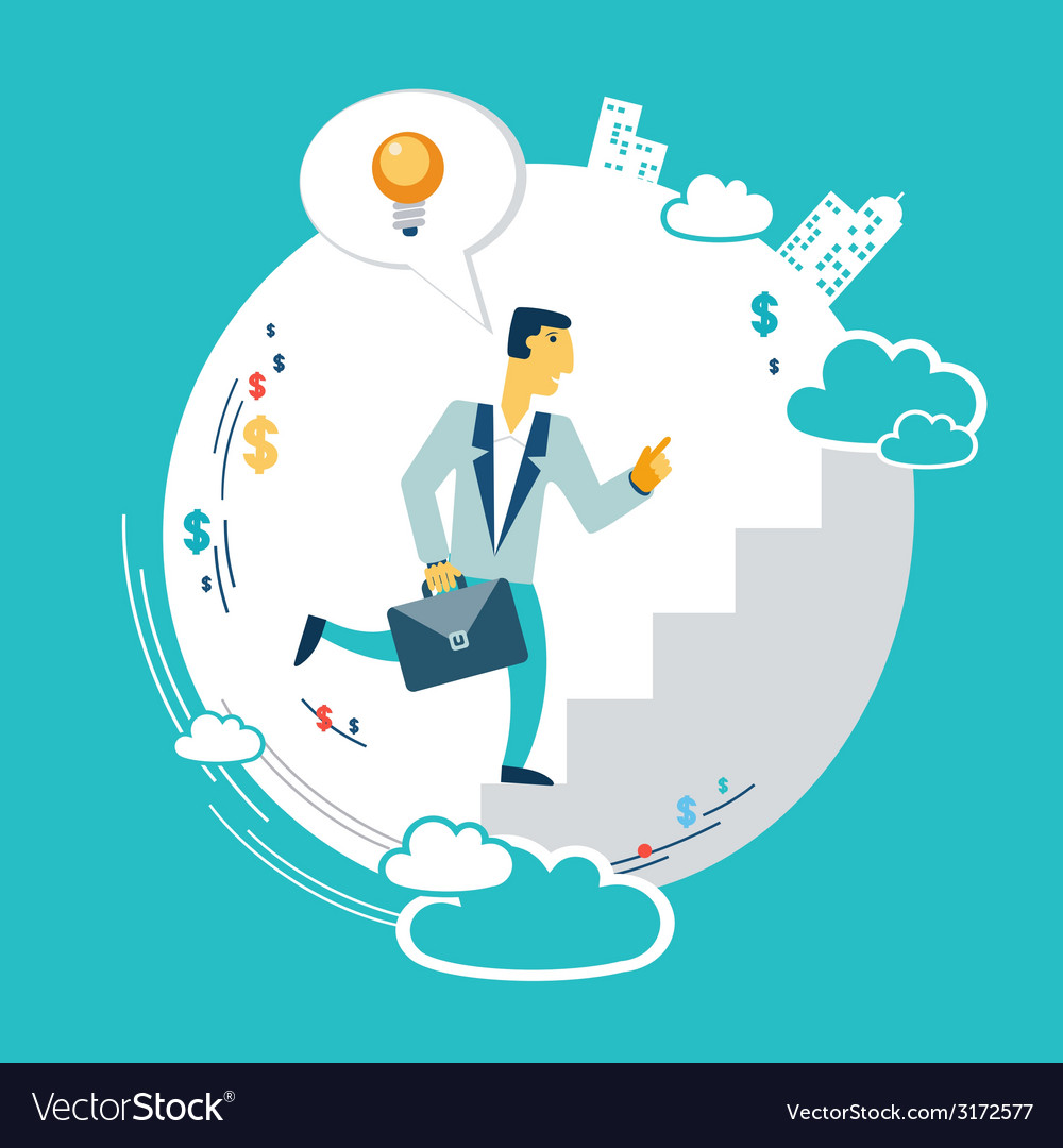 Businessman runs up the career ladder with ideas vector | Price: 1 Credit (USD $1)