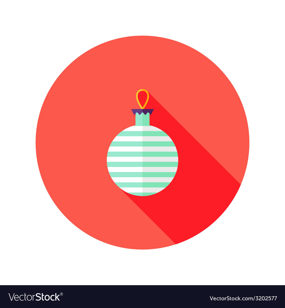 Decorative stripped christmas ball flat icon vector | Price: 1 Credit (USD $1)