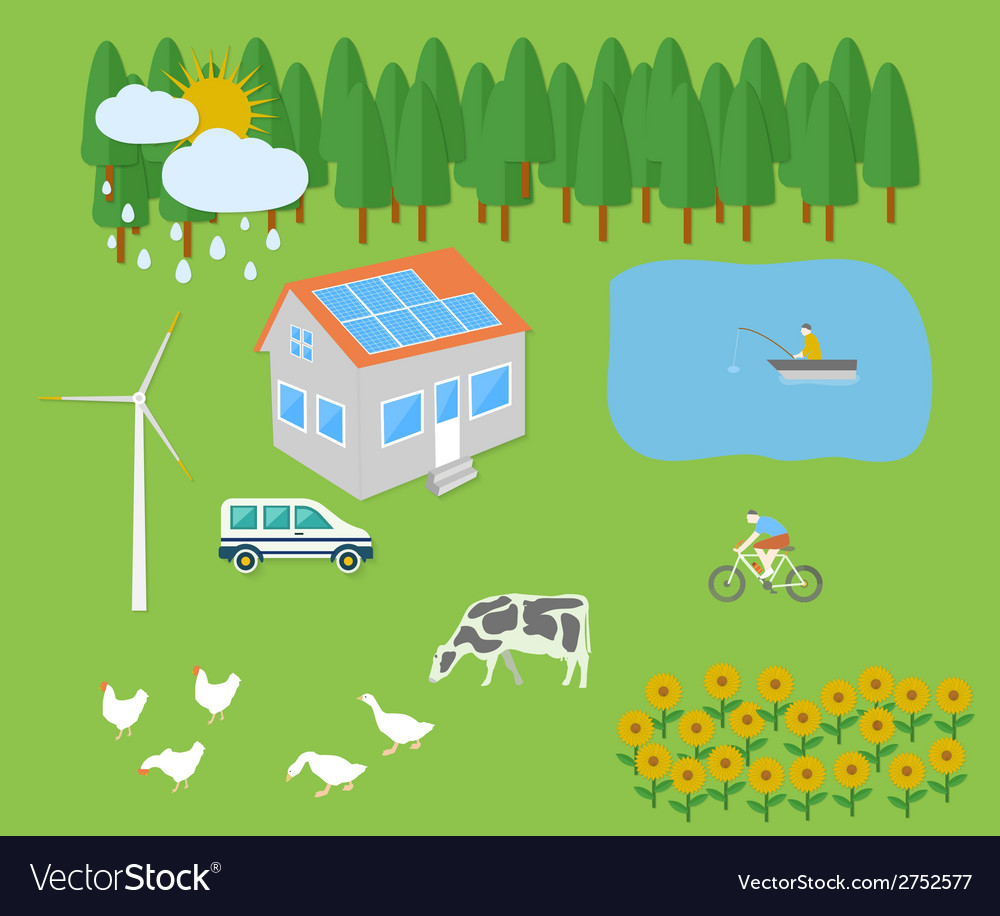 Farm vellage landscape vector | Price: 1 Credit (USD $1)