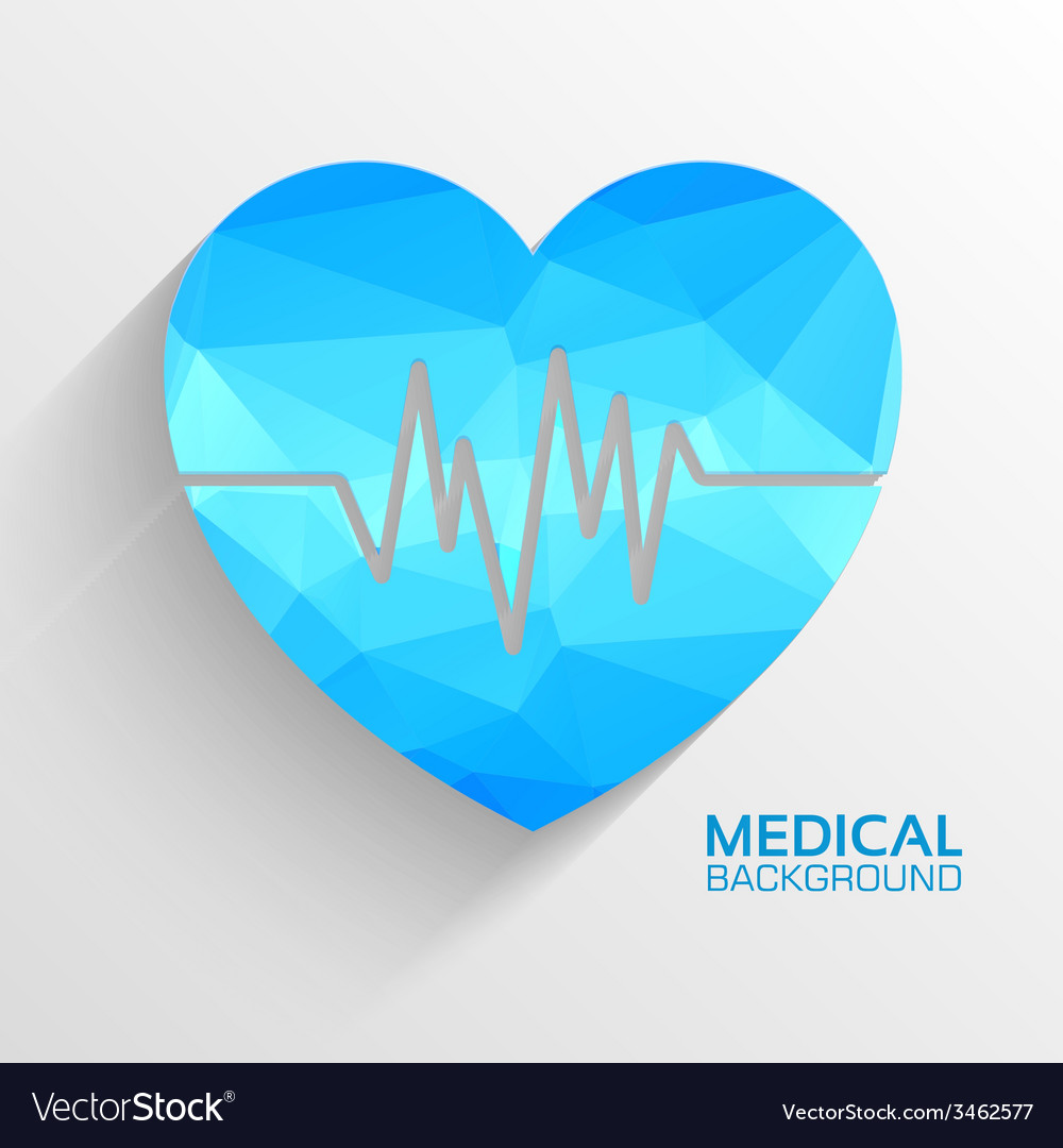 Polygonal medical heart background concept vector | Price: 1 Credit (USD $1)