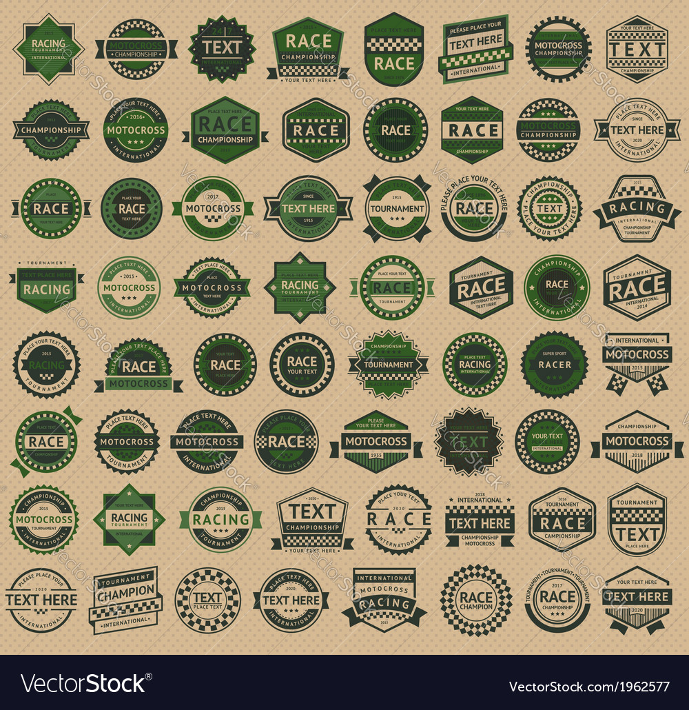 Racing badges - vintage style big green set vector | Price: 3 Credit (USD $3)