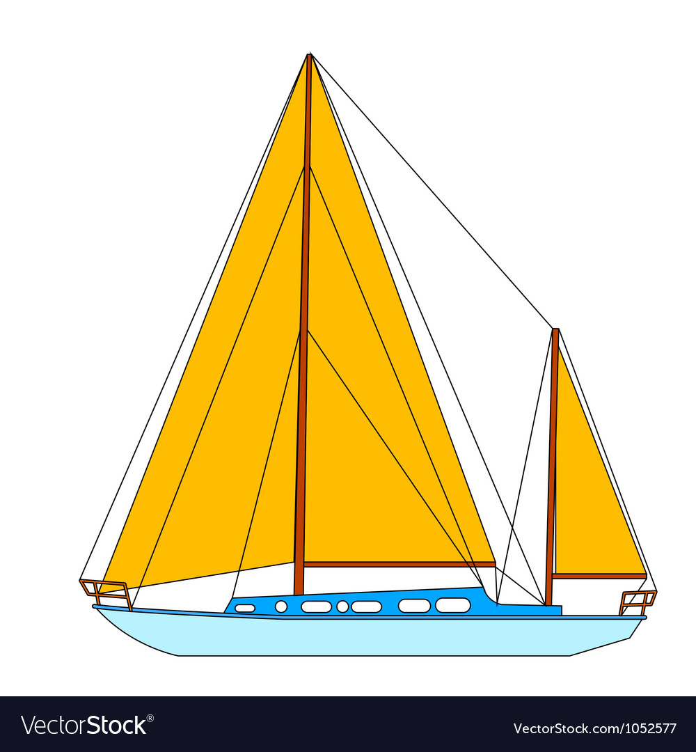 Sailing boat floating vector | Price: 1 Credit (USD $1)