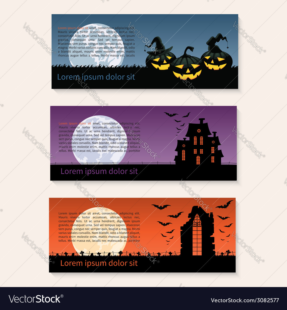 Set of three halloween banners vector | Price: 1 Credit (USD $1)