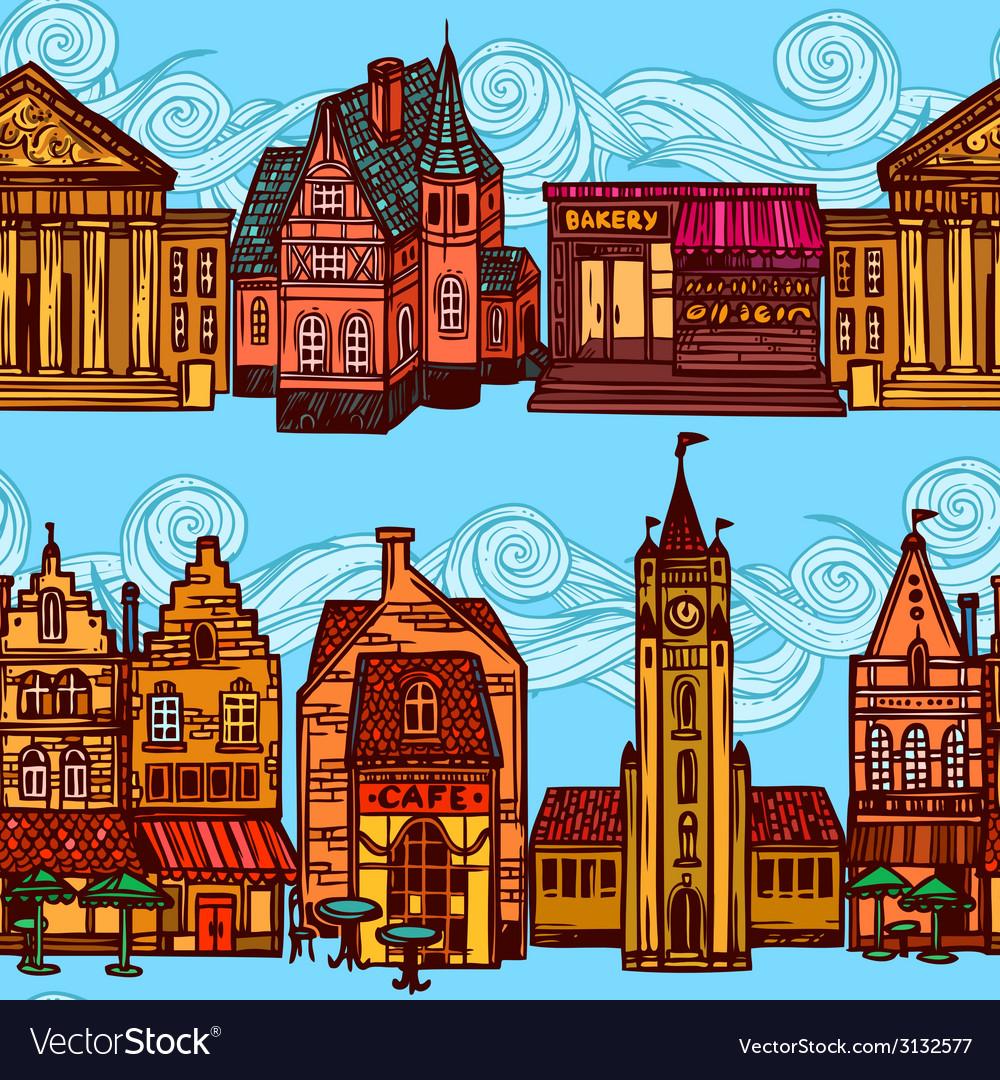 Sketch city seamless border vector | Price: 1 Credit (USD $1)