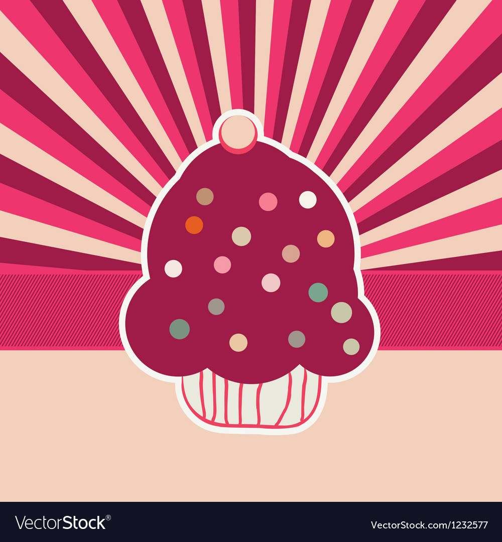Vintage cupcakes card background vector | Price: 1 Credit (USD $1)