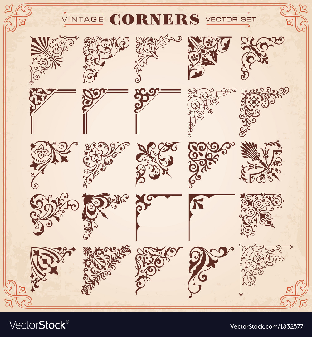 Vintage design elements corners vector | Price: 1 Credit (USD $1)