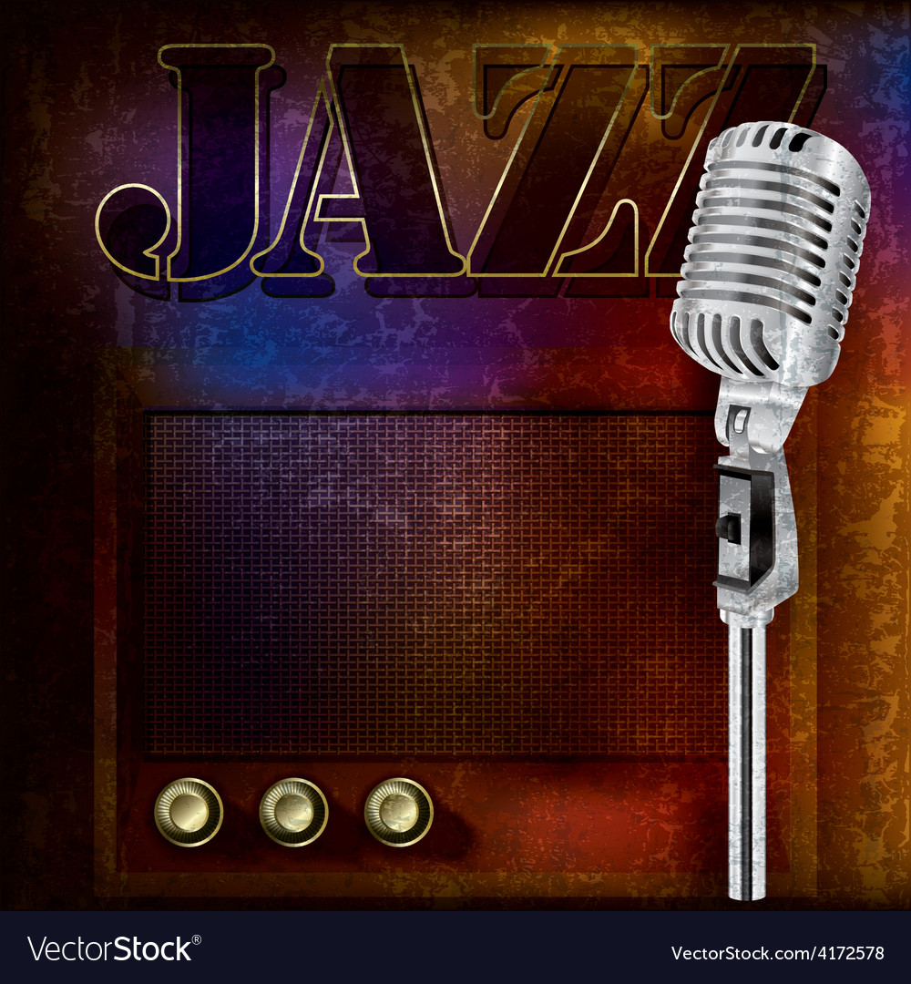 Abstract jazz background with retro microphone and vector | Price: 3 Credit (USD $3)