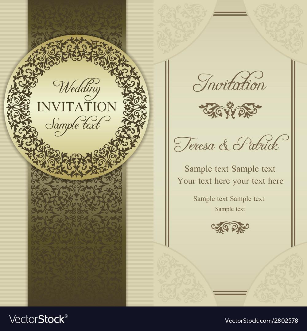 Baroque wedding invitation gold and beige vector | Price: 1 Credit (USD $1)