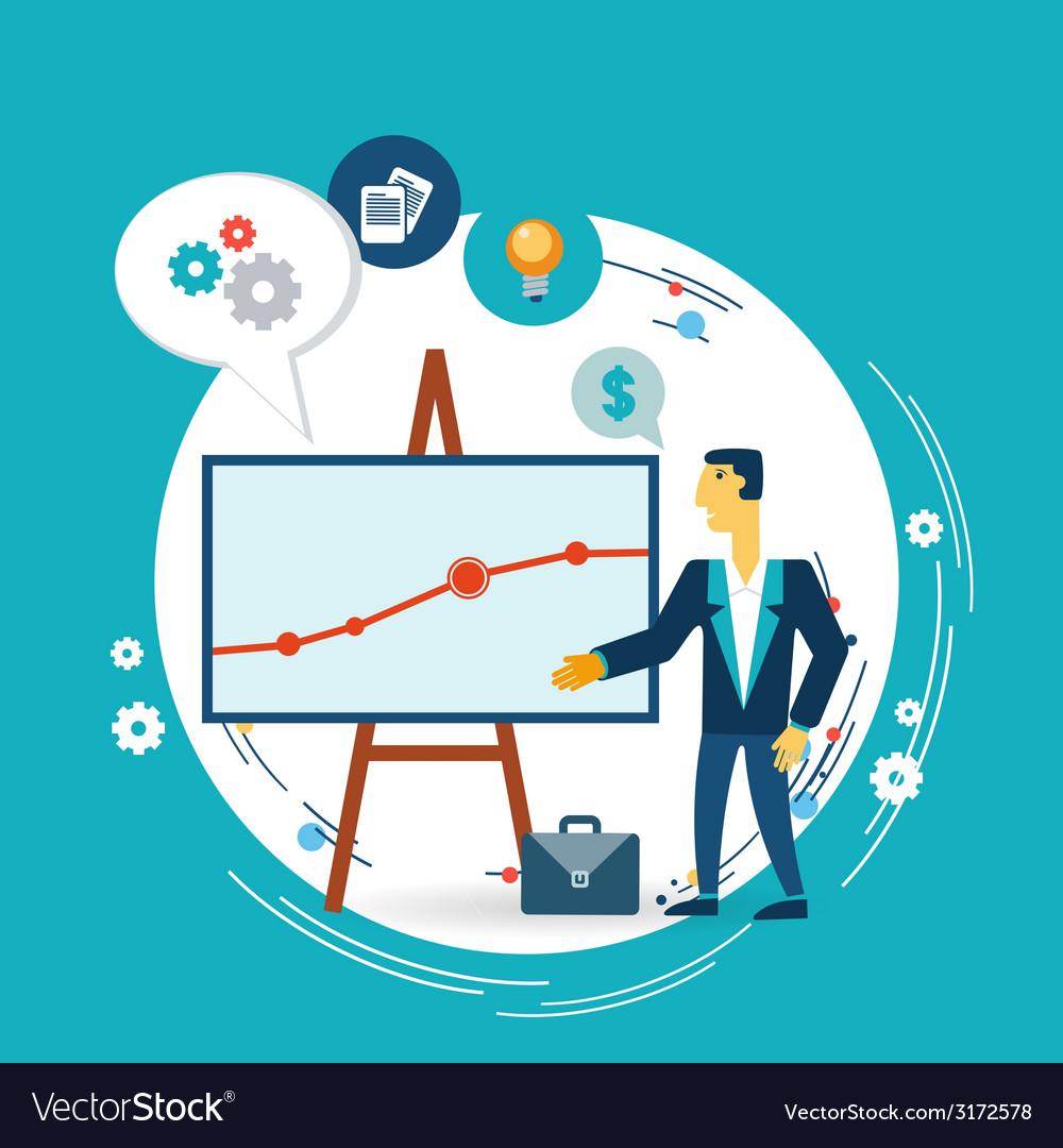 Businessman presents a graph vector | Price: 1 Credit (USD $1)