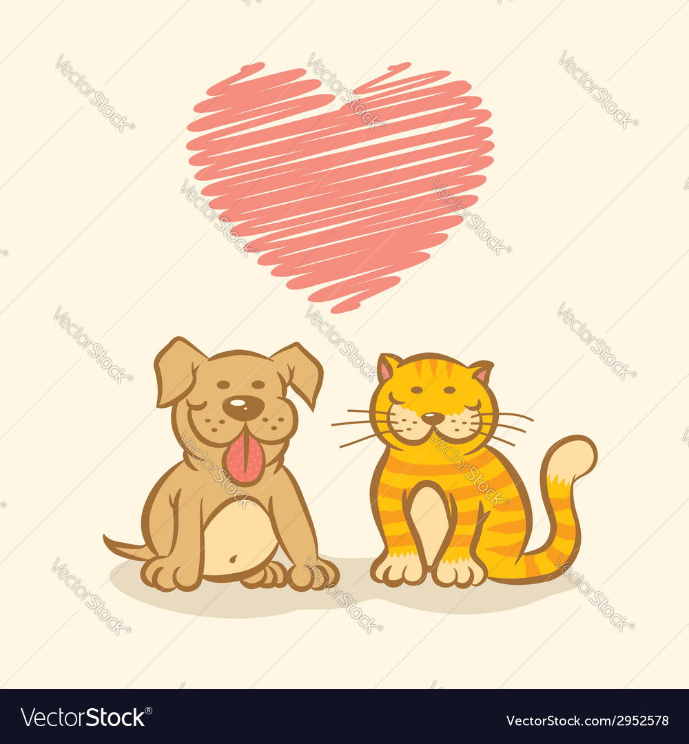 Cat and dog and heart vector | Price: 1 Credit (USD $1)