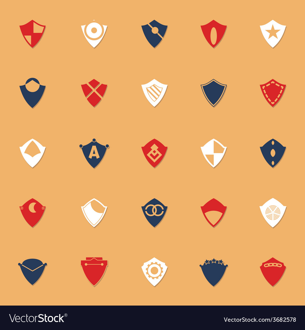 Design shield classic color icons with shadow vector | Price: 1 Credit (USD $1)