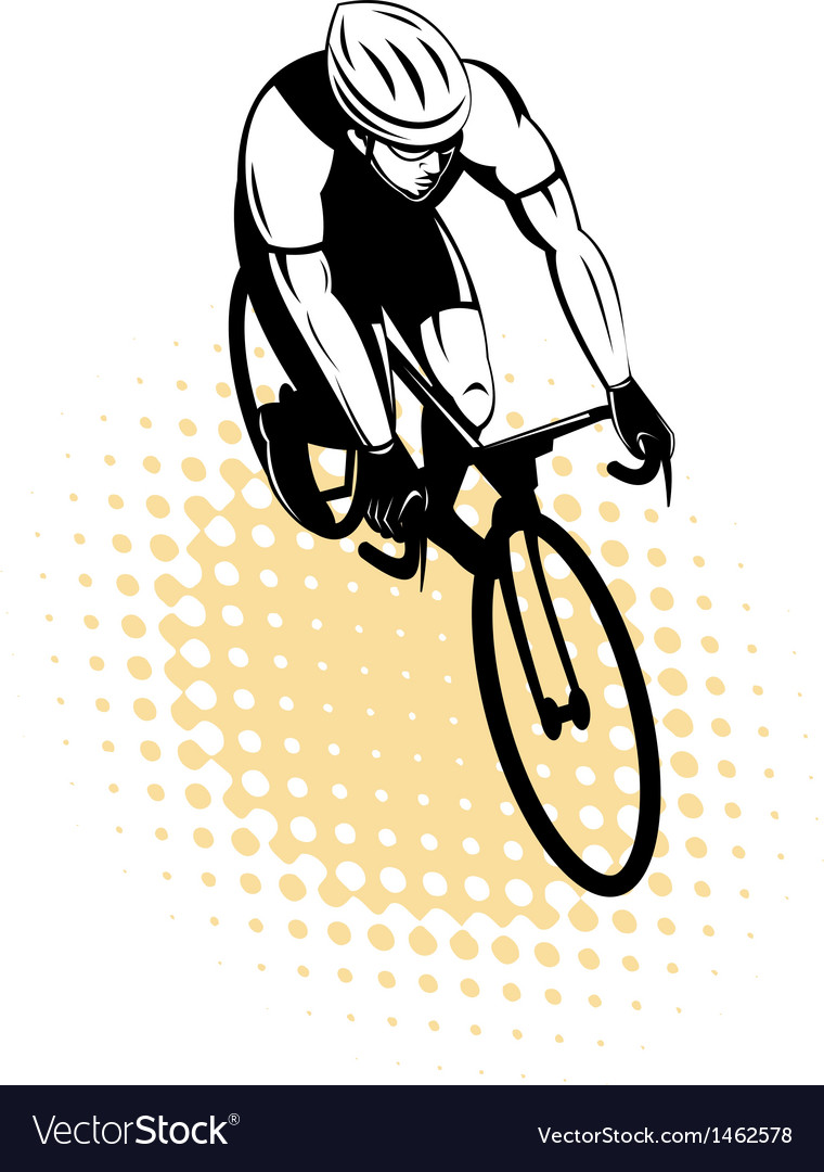 Male cyclist riding racing bicycle vector | Price: 1 Credit (USD $1)