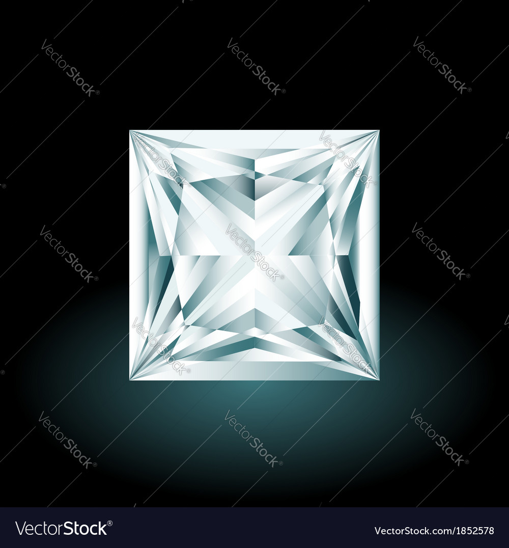 Princess cut diamond on black background vector | Price: 1 Credit (USD $1)