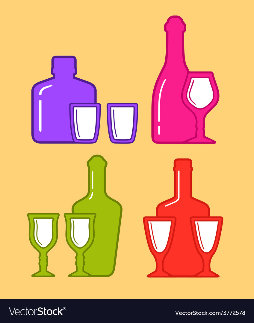 Set isolated coorful bottles and glassses icons vector | Price: 1 Credit (USD $1)