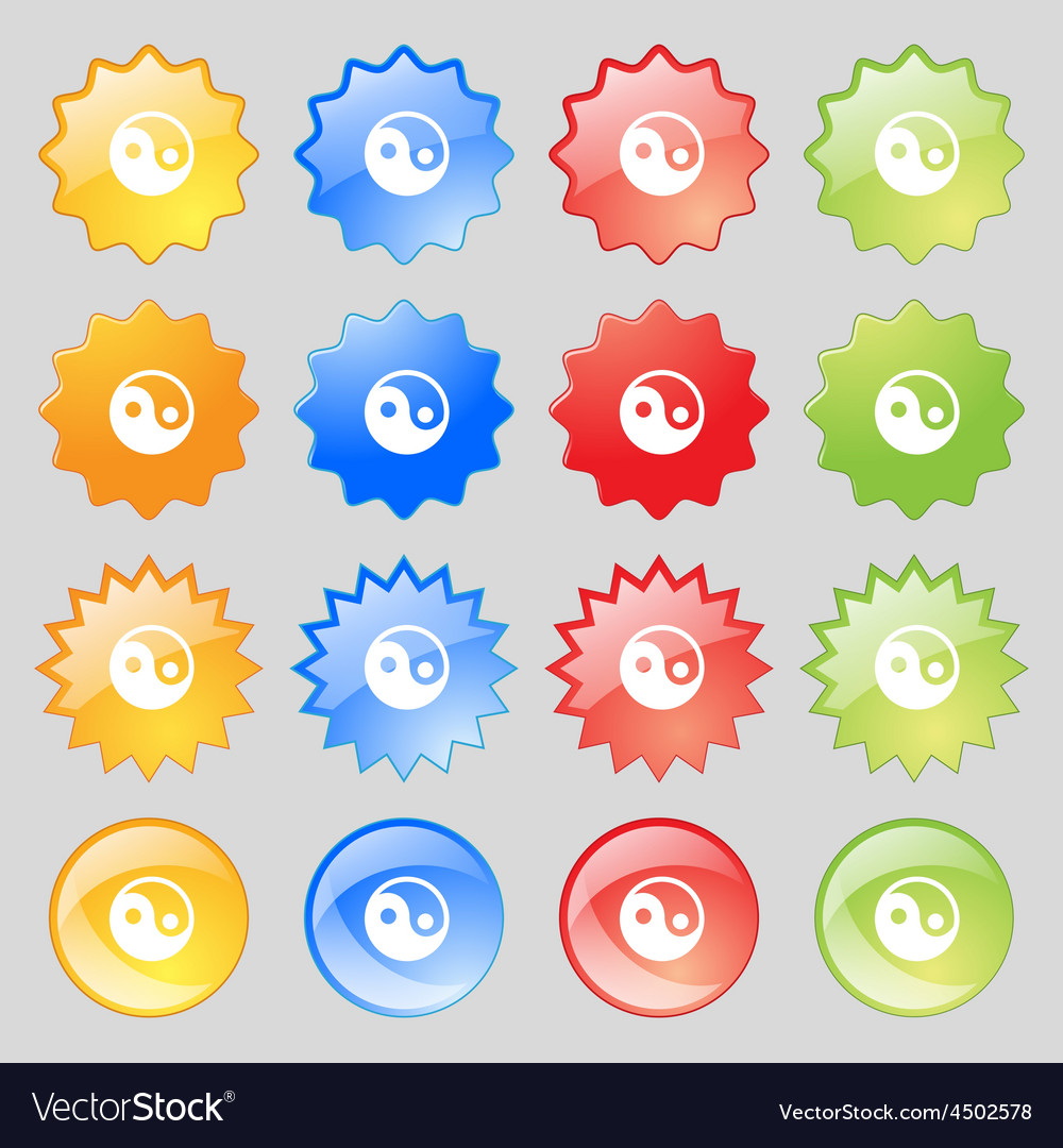 Ying yang icon sign big set of 16 colorful modern vector | Price: 1 Credit (USD $1)