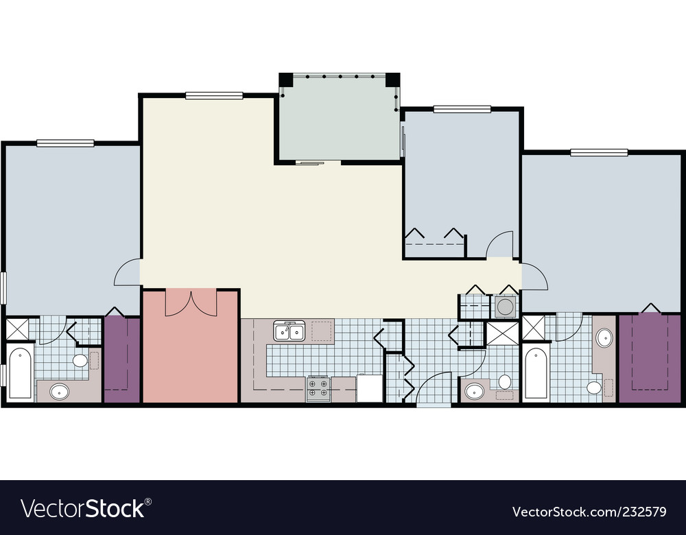 3 bed apartment floor plan vector | Price: 1 Credit (USD $1)