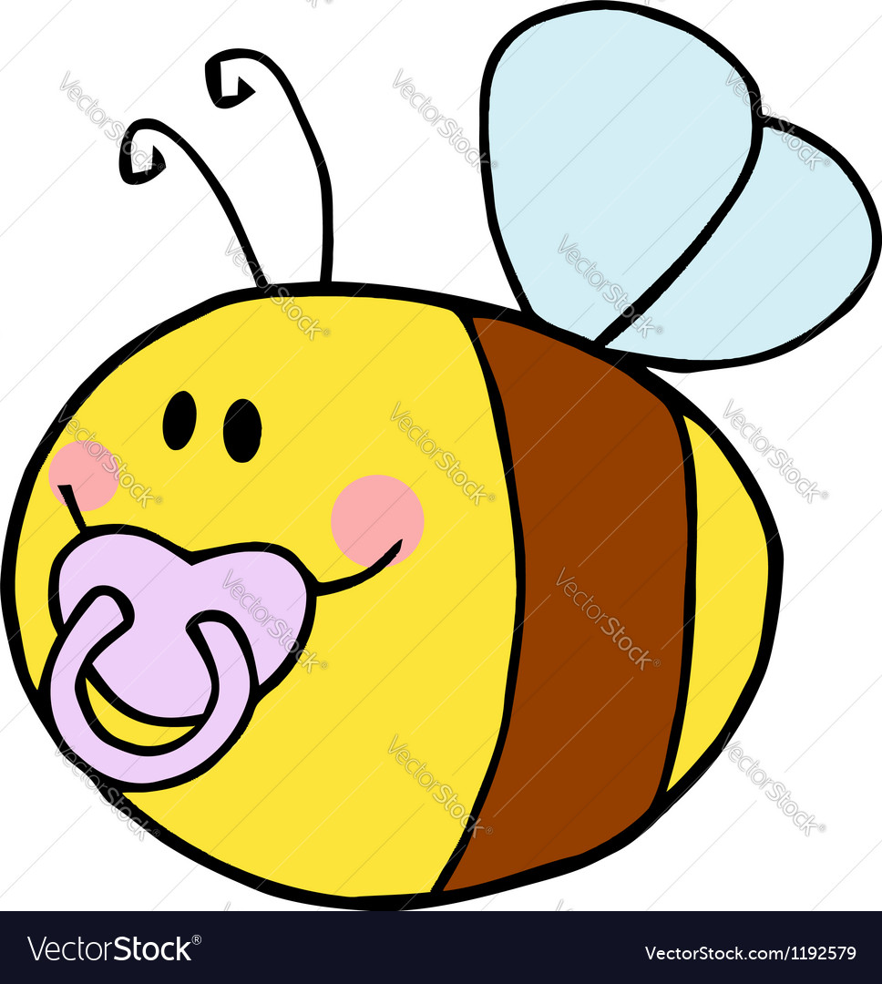 Baby bee cartoon character vector | Price: 1 Credit (USD $1)