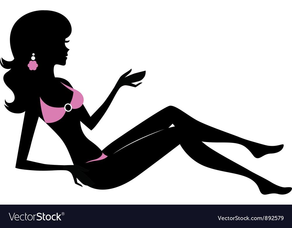 Bikini woman silhouette isolated on white vector | Price: 1 Credit (USD $1)