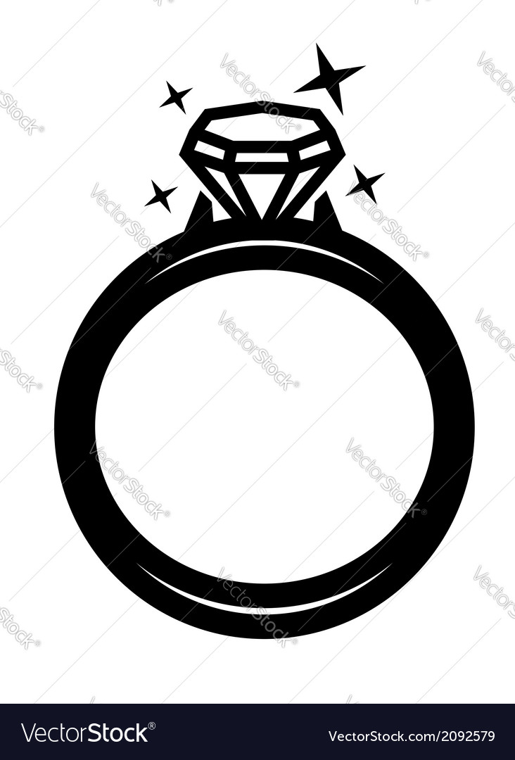 Black ring with diamond vector | Price: 1 Credit (USD $1)