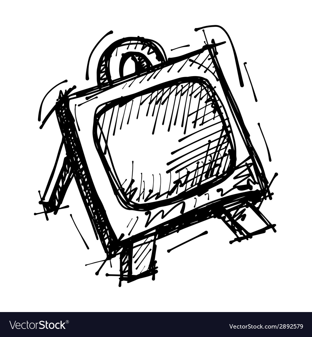 Black sketch drawing of easel vector | Price: 1 Credit (USD $1)
