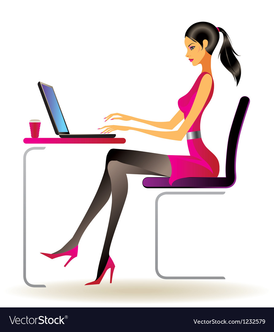 Business woman with laptop in office vector | Price: 1 Credit (USD $1)
