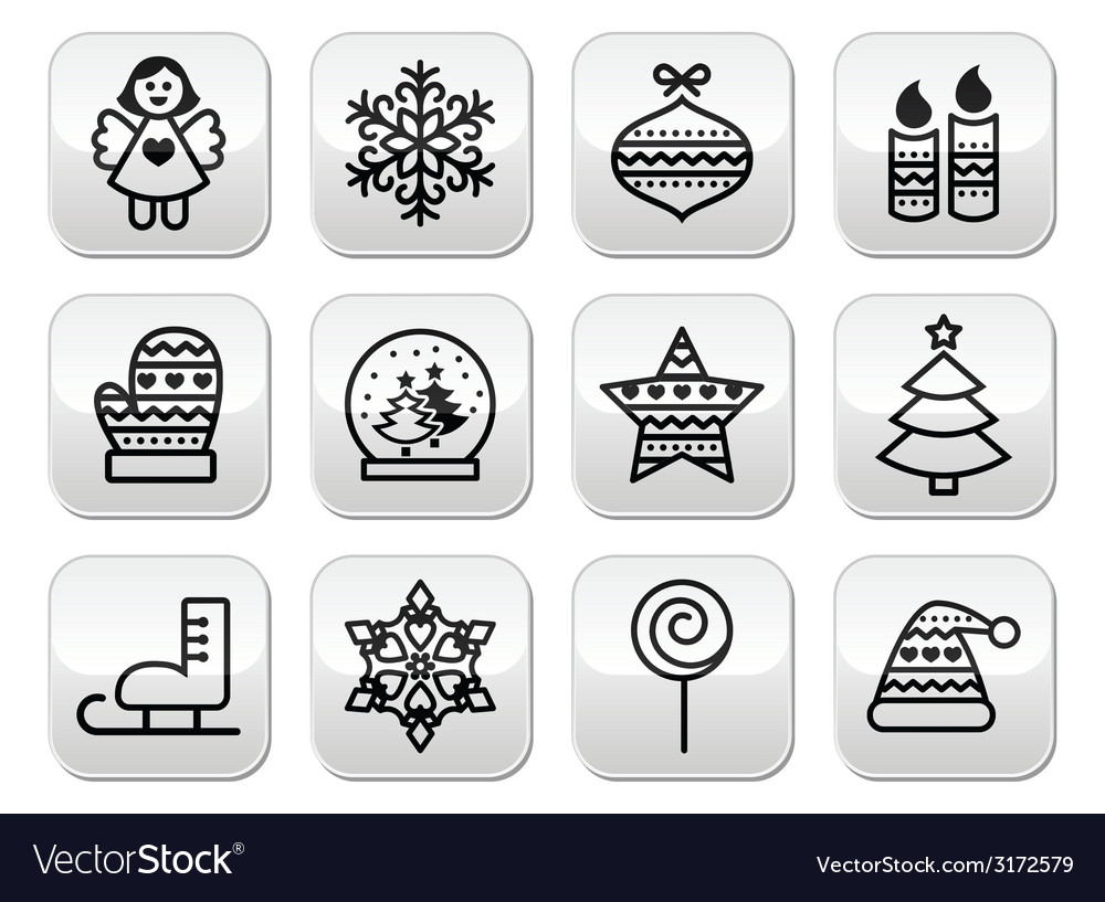 Christmas buttons with stroke - xmas tree angel vector | Price: 1 Credit (USD $1)