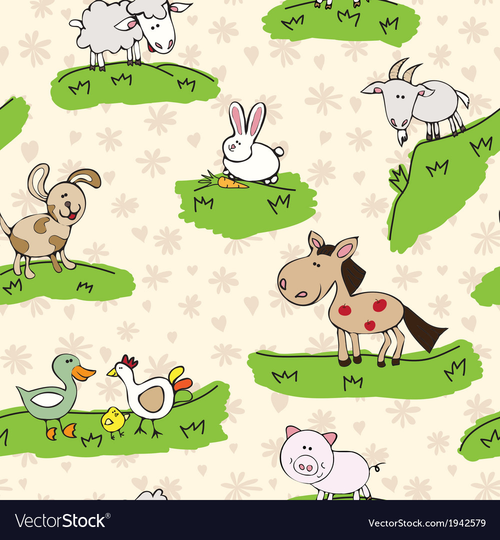 Farm animals on grass vector | Price: 1 Credit (USD $1)