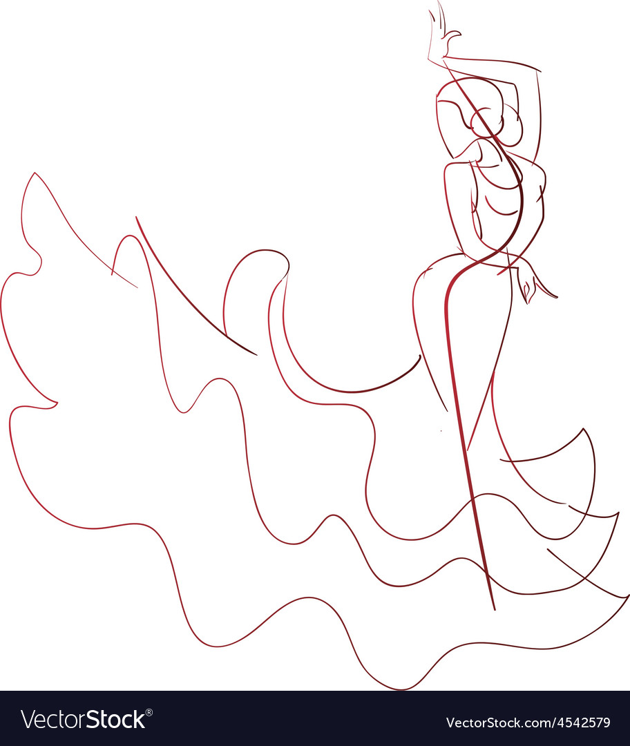 Gesture drawing flamenco dancer expressive pose vector | Price: 1 Credit (USD $1)