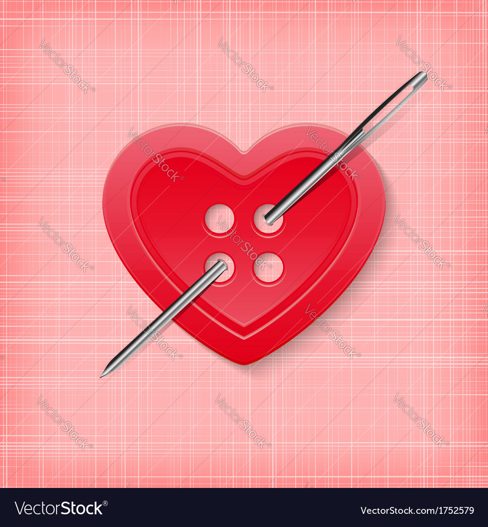 Heart shaped button with a needle on a striped vector | Price: 1 Credit (USD $1)