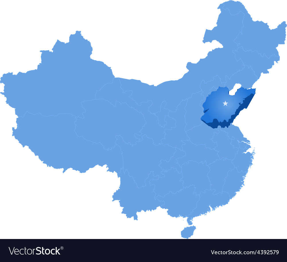 Map of peoples republic of china - shandong vector | Price: 1 Credit (USD $1)