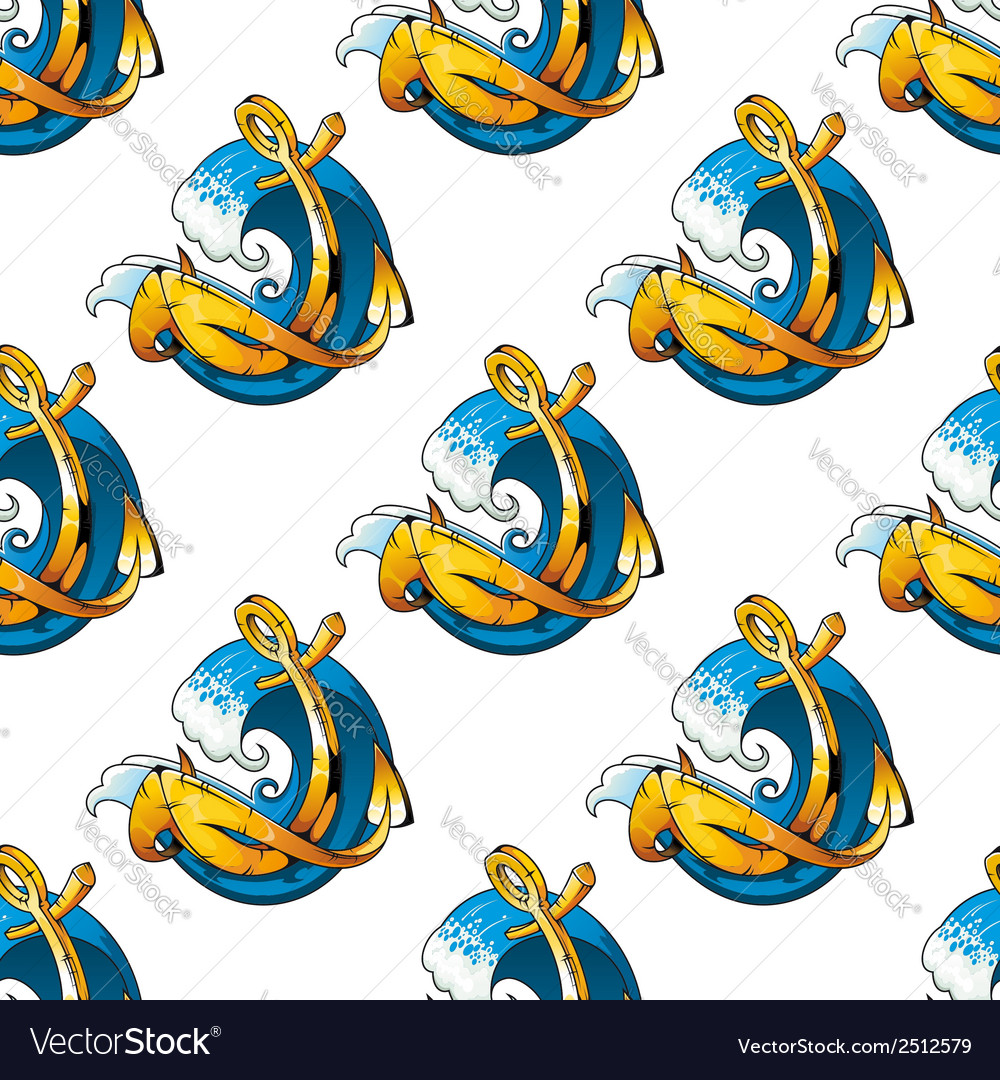 Nautical themed background seamless pattern vector | Price: 1 Credit (USD $1)