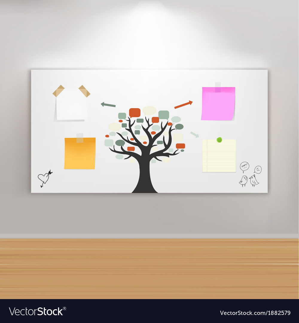 Paintings frame on wall with reminders vector | Price: 1 Credit (USD $1)