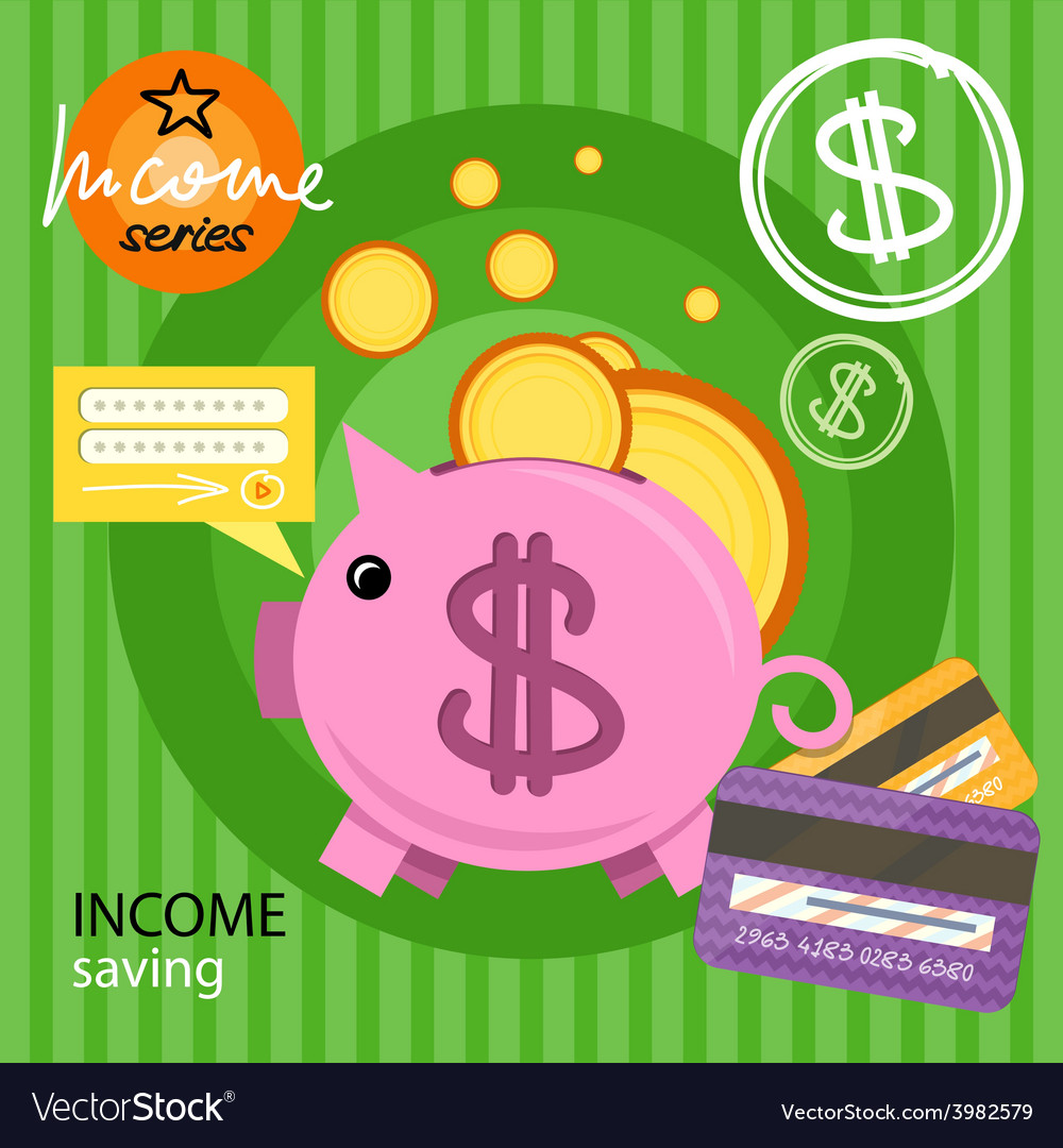 Piggy bank with coins income series vector | Price: 1 Credit (USD $1)