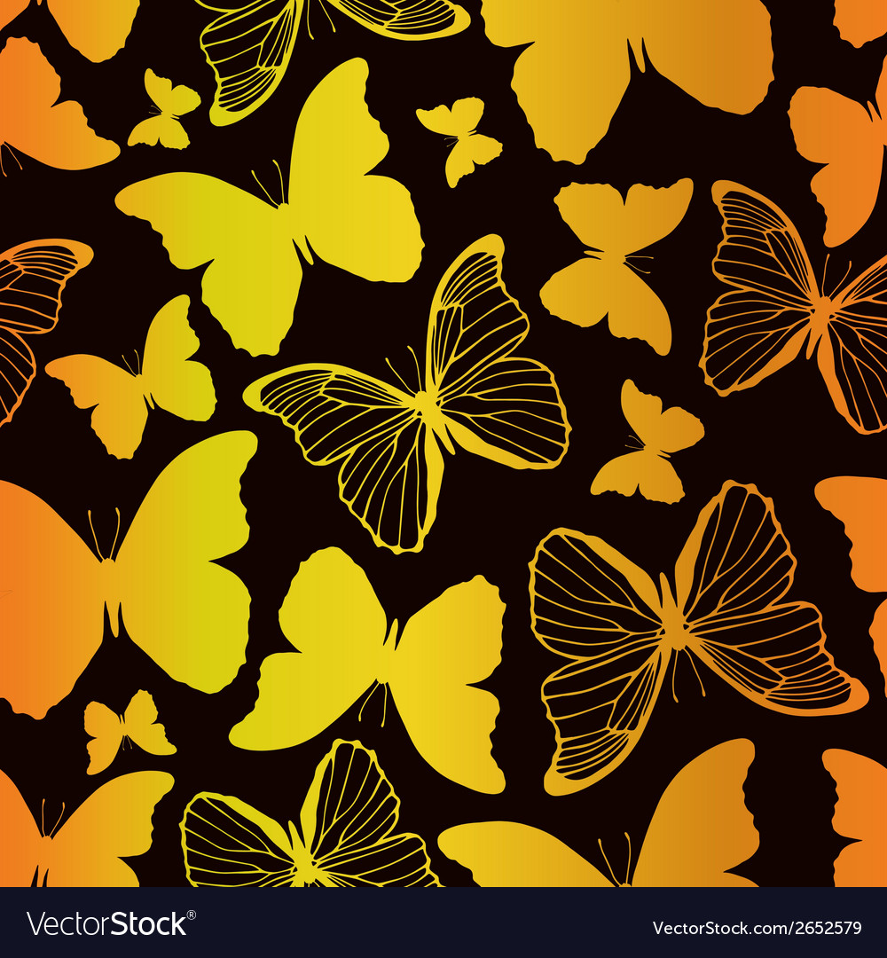 Seamless pattern with decorative butterflies vector | Price: 1 Credit (USD $1)