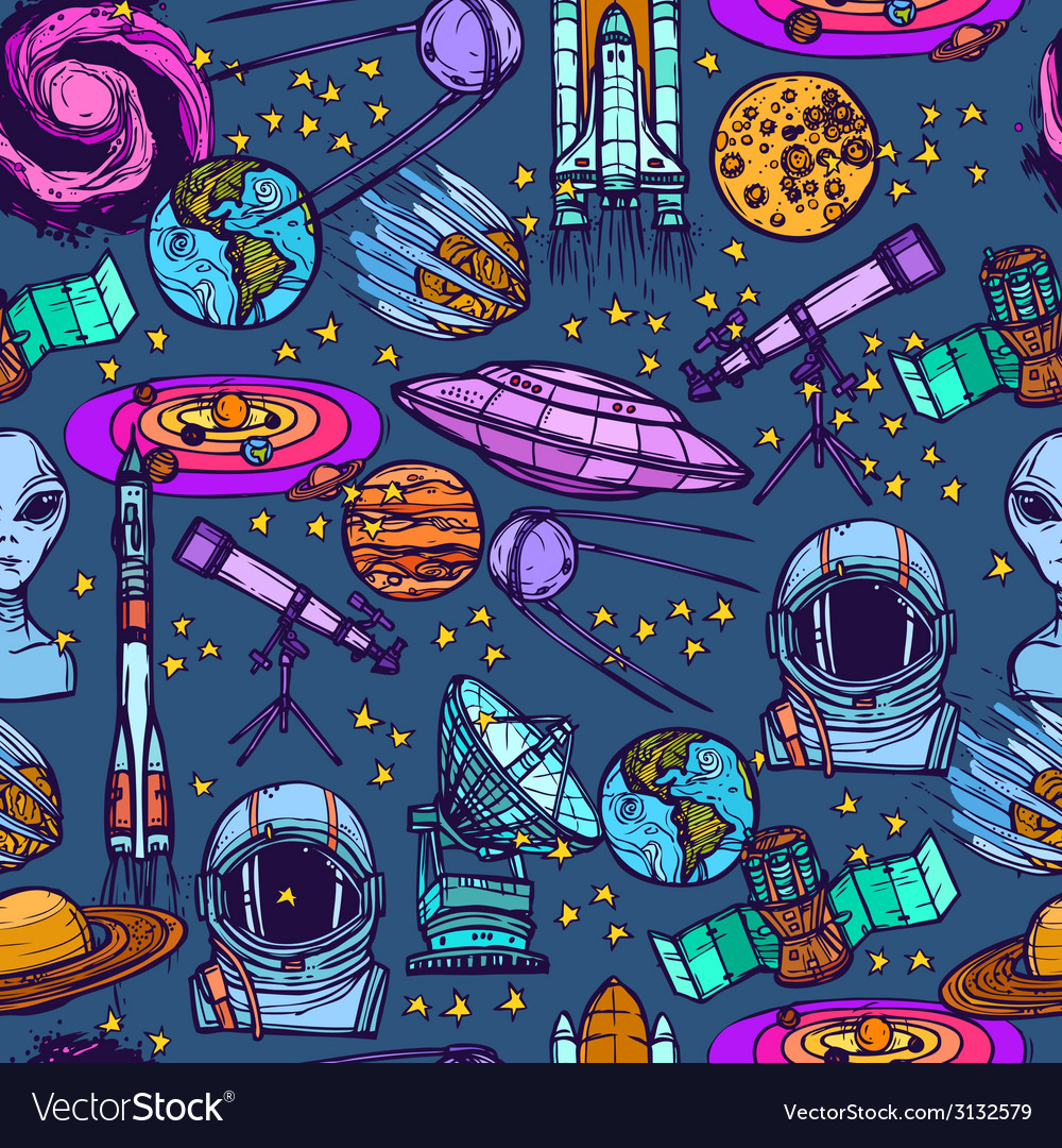 Space sketch seamless pattern vector | Price: 1 Credit (USD $1)